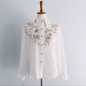 Vintage Embroidered Pearl Button Blouse